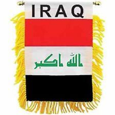 "IRAQ  MINI BANNER FLAG 4 x 6"" with BRASS STAFF & SUCTION CUP  - NEW"