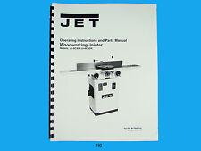 Jet   JJ-6CSX, JJ-6CSDX Woodworking Jointer Op Instruct & Parts  Manual *190