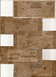 5 REPRODUCTION antiqued U.S. CWAR of 1812 era Notes paper money bills lot B