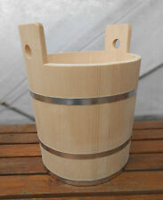 Wooden Canister Tub Bucket Wood Vat 36 Liter 9.6 Gallon Natural Wood
