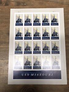 SCOTT # 5392-USS MISSOURI BATTLESHIP-SHEET OF (20)  FOREVER STAMPS MNH 2019