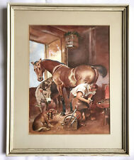 Watercolour Painting Horse Having Shoe Fitted Farrier With Dog Mounted And Frame