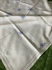 More details for vintage hand embroidered linen tablecloth matching six napkins