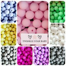 20 Pcs 12mm Silicone Teething Round Beads DIY Sensory Craft Quality *UK SELLER*