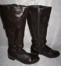 WOMENS JOHN WHITE DARK BROWN ZIP SYNTHETIC KNEE HIGH  BOOTS SIZE:5/38(WB334)