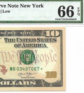2013 $10 NEW YORK * STAR * 🌟 FRN, PMG GEM UNCIRCULATED 66 EPQ BANKNOTE, RUN 2