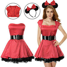 6pcs Sexy Women Minnie Mouse Cosplay Fancy Dress Costume Outfits+Ears Headband