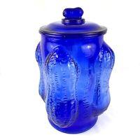 "Planters Mr. Peanut Large Peanut Corners Cobalt Blue Glass Jar w/ Lid 15"""