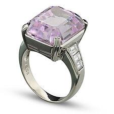 Diamante KUNZITA ANILLO LUJO PURO 19,38 quilates PLATINO 900 Valor NUEVO