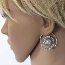Mondstein Ohrringe Creolen Sterling Silber 925 Durchzieher Spiralohrringe  S