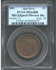 Rare USA 1853 PCGS MS 64 RB Braided Hair Large Cent Error- Mis-aligned Die