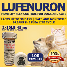 """Flea Control for Dogs/Cats 2-10lbs """"100 Month"""" 45mg Flea Control Capsules"""