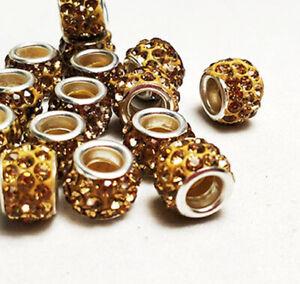 50p Rhinestone Crystal Shambhala Beads Big Hole Spacer Beaded for Jewelry Making