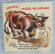 Old Spring Tail Crying Cow Missed Birthday Vintage 1950's Hallmark Card FREE S/H