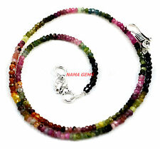"""NATURAL MULTI TOURMALINE GEMSTONE 3-4MM FACETED BEADS 18""""STRAND CHOKER NECKLACE"""