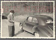 Vintage Car Photo Man & DKW Auto Union Automobile on Roadside 774552