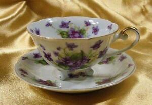 Vintage LEFTON Cup & Saucer HAND-PAINTED VIOLETS Fine Porcelain