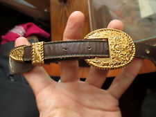 SZ 30 VOGT True Vtg Leather Inlay COWBOY RANGER Western Belt Crumline Buckle