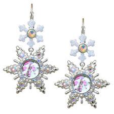 "Kirks Folly Seaview Ice Moon Large Snowflake Leverback Earrings Ster ST 2"" Long"