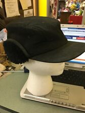 Mackinaw Hat Cap Black Broner Furry Ear Flap Elmer Fudd Hunting Vintage Medium