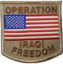 United States Military Patch OPERATION IRAQI FREEDOM w USA Flag on Tan
