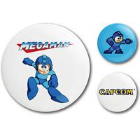MEGA MAN Collector's Set 3 Pins NEW Button Badge Capcom Nintendo Retro Throwback
