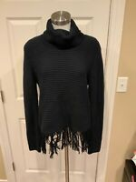 Michael Kors Navy Blue Turtleneck Sweater w/ Fringe Trim, Size Large