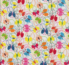 Half Metre of Quilting Fabric ~ Butterflies on White