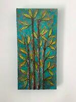 Bamboo Original Painting On Canvas Textured Artwork Gift Wall Art By Kenna