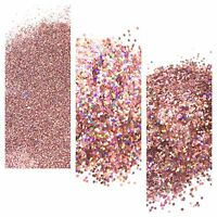 Nail Art Glitter Sweet Pink Holographic Fine Chunky Hexagon 5g bag/pot