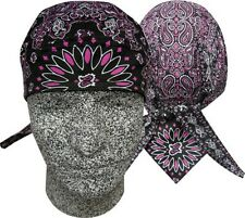 Black Pink Paisley Headwrap Bandanna Sweatband Durag Capsmith Biker Doo Rag
