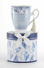 """Delton Products Tall Porcelain Mug, Englich Blue 4.6"""" in Gift Box, 8131-9"""