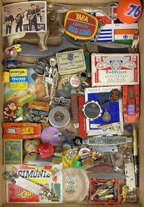 Group Vintage Antique Junk Drawer Lot Collection Small Car Knife Pins Tins Cards