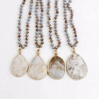 Irregular Natural Stone Pendant Knnotted Glass Beads Chain Long Necklace Jewelry