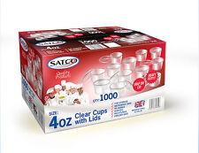 SATCO Plastic Clear 4oz Sauce Cups & Lids, Pots Tubs H/D Catering,takeaway etc.
