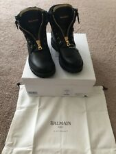 Womens Balmain Paris Taiga Combat Boots Zip Gold New 37 US 7 Auth Black Leather