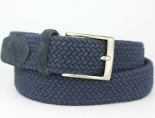 Braided Woven Stretch Fabric Belt Suede End Trims Size S