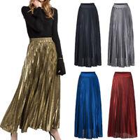 Autumn New Women Party Vintage High Waist Pleated Skirt Casual Long Skirt