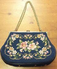 Vtg. Royal Blue, Floral, Needlepoint, Baguette Handbag, Brass Chain Link Strap