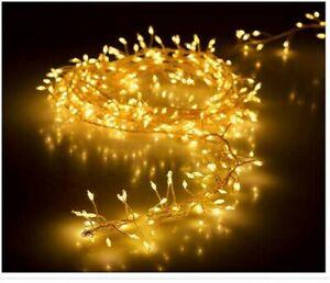 LED Cluster Lichterkette Silberdraht  warmweiß kaltweiß  außen Büschel Strom