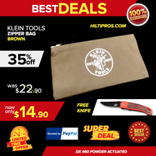 Klein Tools Zipper Bag, Brown, Brand New, Fast Shipping
