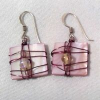 OOAK hand crafted earrings art to wear pink shell purple wire wrap beads 5/8""