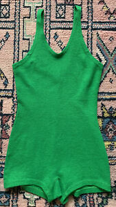 Vtg 30s Green RARE WOLSEY Knitted Wool Swimsuit Body Lingerie All In One Xs S 6