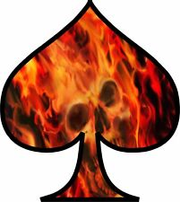 Flaming Skull Ace of Spades Vinyl Decal Sticker Car Truck Window