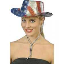 COWBOY GLITTER HAT LADIES AMERICAN FANCY DRESS ACCESSORY USA