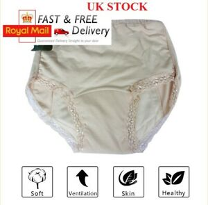 UK Women Ladies Cotton INCONTINENCE Pants WASHABLE WITH PAD Briefs Knickers