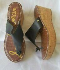 7.5/37.5 Sam Edelman Romy Women Black Platform Thong Sandal Shoe