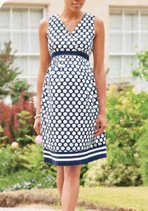 BNWT JOJO MAMAN BEBE Maternity Navy Spot Summer Dress @ Size 14 NEW RRP £39