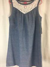 J. Khaki Sleeveless Blue Chambray & Eyelet Cotton Dress Girls Sz 8 New