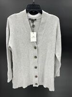 Something Navy Womens Medium Cozy V-Neck Sweater Cardigan Light Gray Speck NWT
